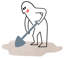 mann med spade som graver